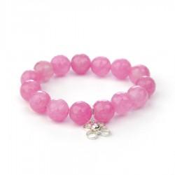Polsera de pedres d'àgata rosa Flor de Vida