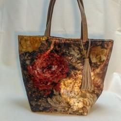 Bolso solidario shopping en terciopelo brocado flores negras 20/50
