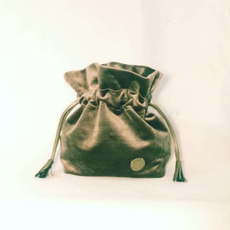Bolso solidario saco terciopelo grueso verde turquesa 42/50