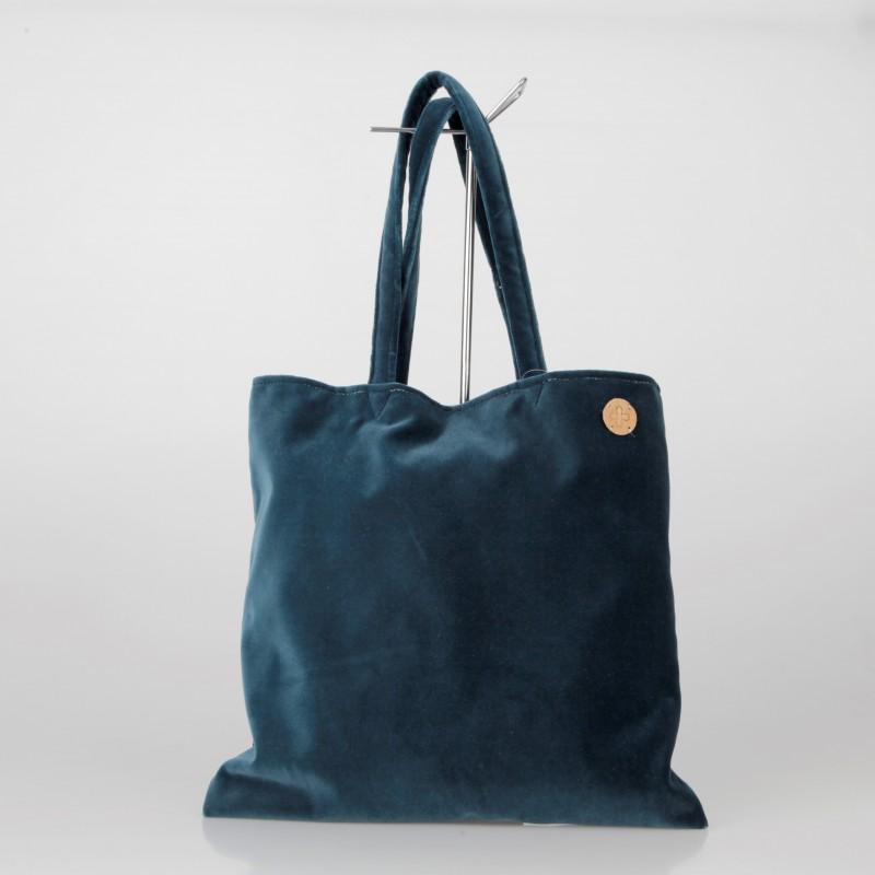 Bolso Tote Bag solidario de terciopelo en azul petróleo 15/100