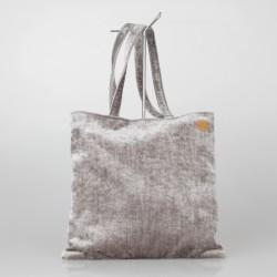 Bolso Tote Bag solidario de terciopelo en gris 16/100