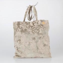 Bolso Tote Bag solidario de terciopelo brocado en beige 18/100
