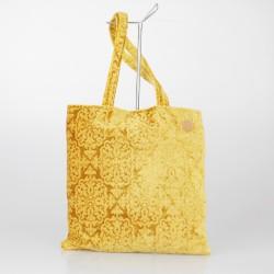 Bolso Tote Bag solidario de terciopelo brocado en amarillo 19/100