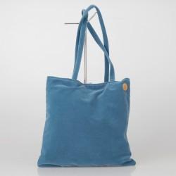 Bolso Tote Bag solidario de terciopelo en azul 20/100