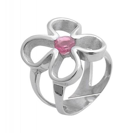 Anillo Flor de Vida de plata solidario contra el cancer de mama