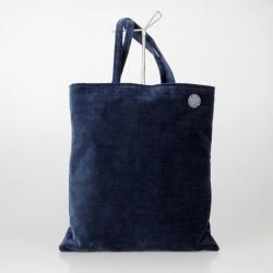 Bolso Tote Bag solidario de terciopelo en azul oscuro 22/100