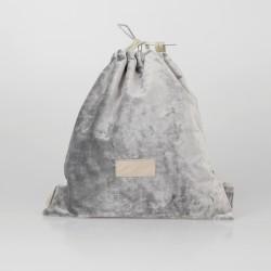 Bolso solidario estilo mochila de terciopelo gris claro 2/100