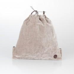 Bolso solidario estilo mochila de terciopelo beige 3/100