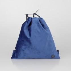 Bolso solidario estilo mochila de terciopelo azul eléctrico 5/100