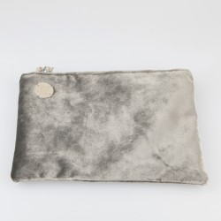 Cartera solidaria de terciopelo gris oscuro 3/100