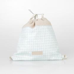 Bolso solidario estilo mochila de arpillera azul claro 6/100