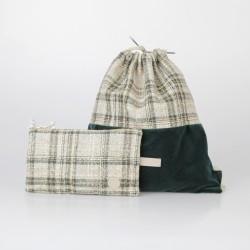 Conjunto mochila y cartera de arpillera verde 1/100