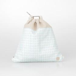 Conjunto mochila y cartera de arpillera azul 2/100