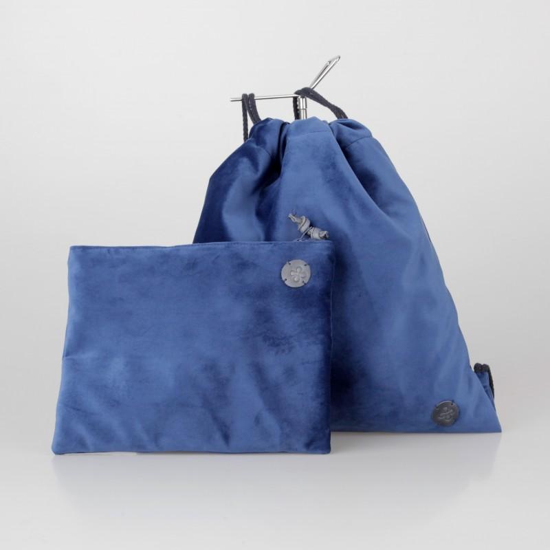 Conjunto mochila y cartera de terciopelo azul eléctrico 3/100
