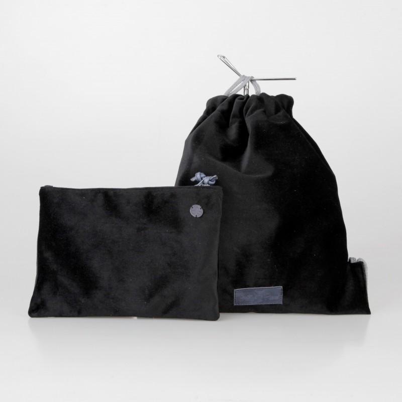 Conjunto mochila y cartera de terciopelo negro 4/100